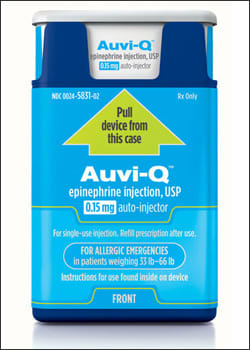 Photo showing Auvi-Q, 0.15 mg of epinephrine