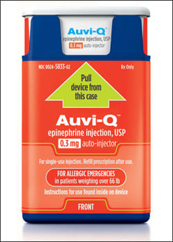 Photo showing Auvi-Q, 0.3 mg of epinephrine