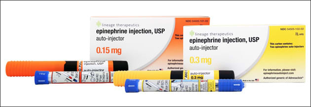 Photo showing generic epinephrine auto-injectors: 0.15 mg and 0.3 mg