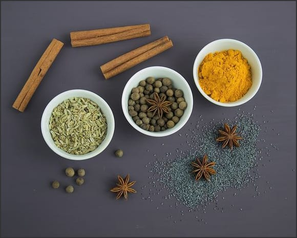 Photography showing various types of spices