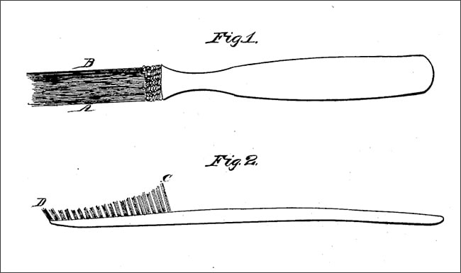 Illustration showing Wadworth's patent for the first United States toothbrush