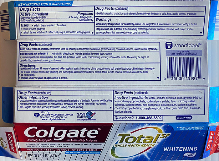 Photo showing the ingredients list of Colgate Total toothpaste box
