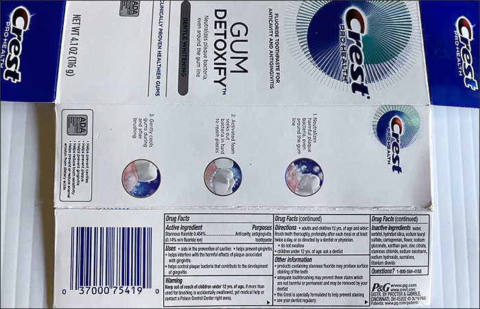 Photo showing the ingredients list of Crest Gum Detoxify toothpaste box