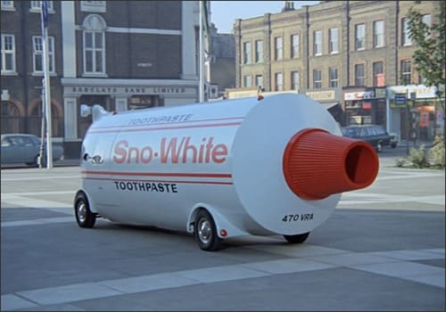 Photo showing a vehicle that looks like a toothpaste tube