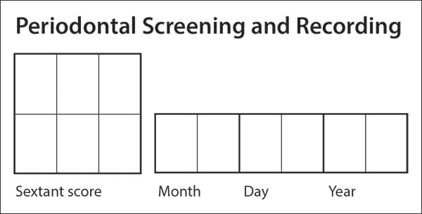 Periodontal screening and recording chart using sextants