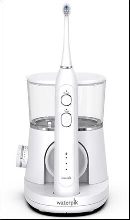Photo showing Waterpik Sonic-Fusion water flosser and power toothbrush