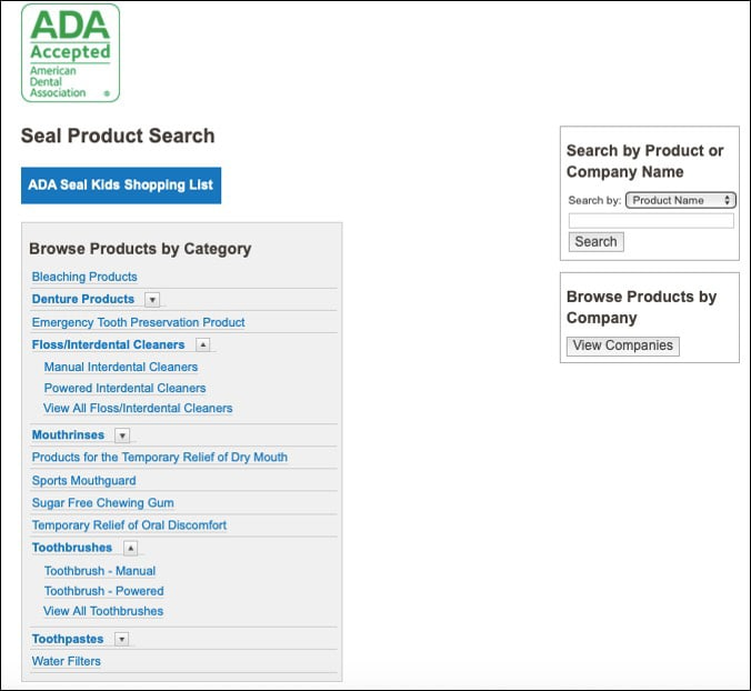 Image showing the ADA product search features on their website