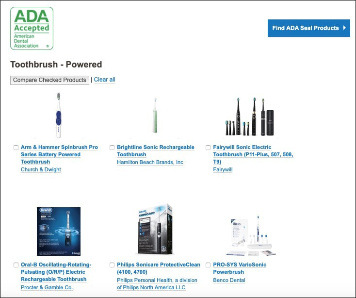 Image showing the power toothbrushes listed on theADA product search website