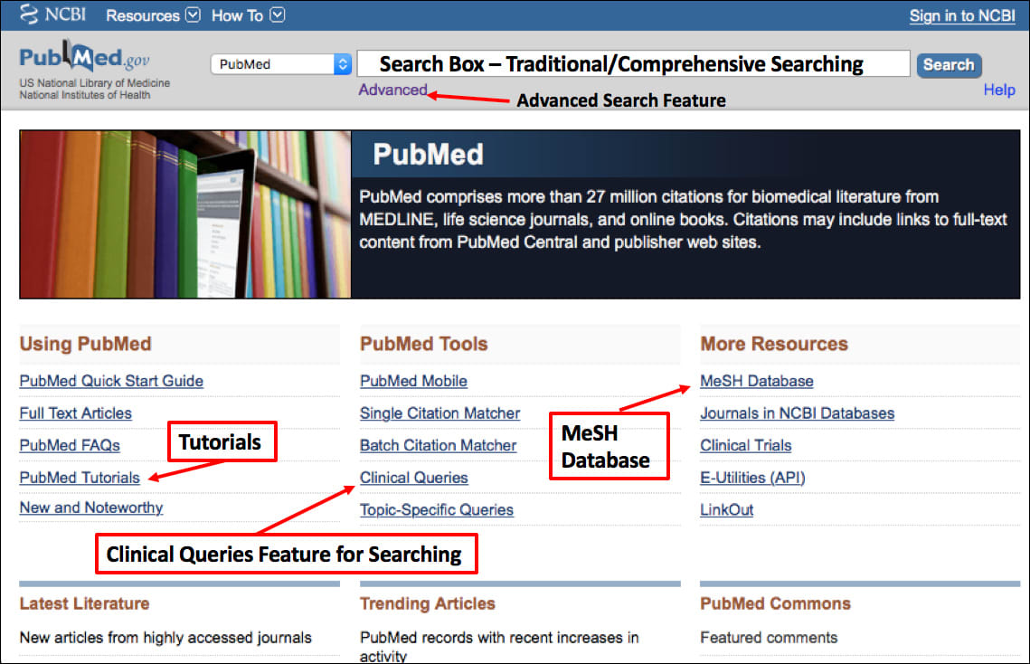 Image: PubMed home page.