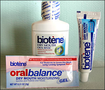 Image: Biotène products to alleviate symptoms of xerostomia.