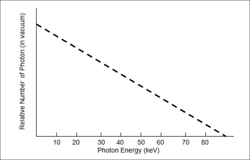 Theoretical x-ray spectrum before filtration. There are more low energy photons than high energy photons.