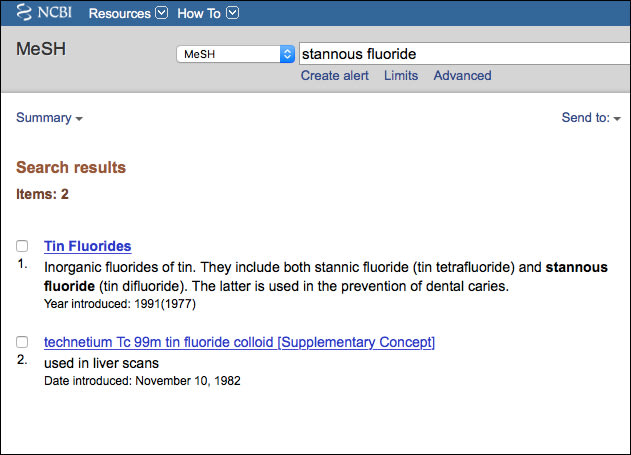 Image: MeSH Database Search – Tooth Whitening Results