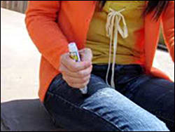 Image: Figure 3 depicts the injection of EpiPen Jr. into the thigh.
