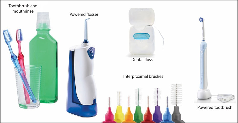 Image of Various oral hygiene aids for effective oral home care.
