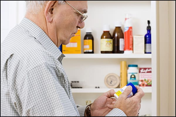 Photo showing medications in medicine cabinet.