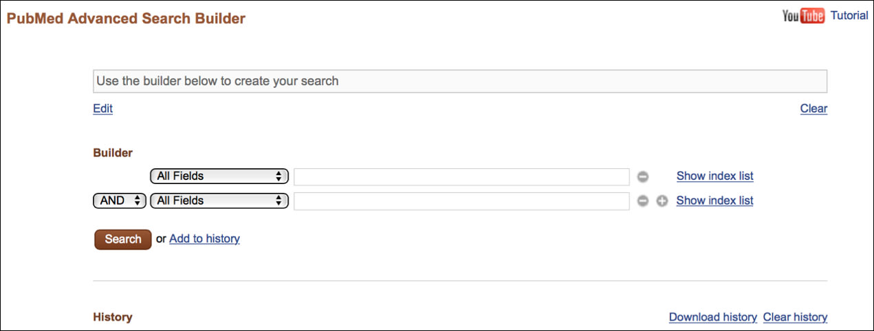 Image of Top Portion of Advanced Search Builder Page.