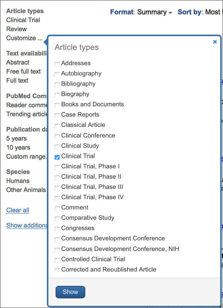 Image: Article types - Options