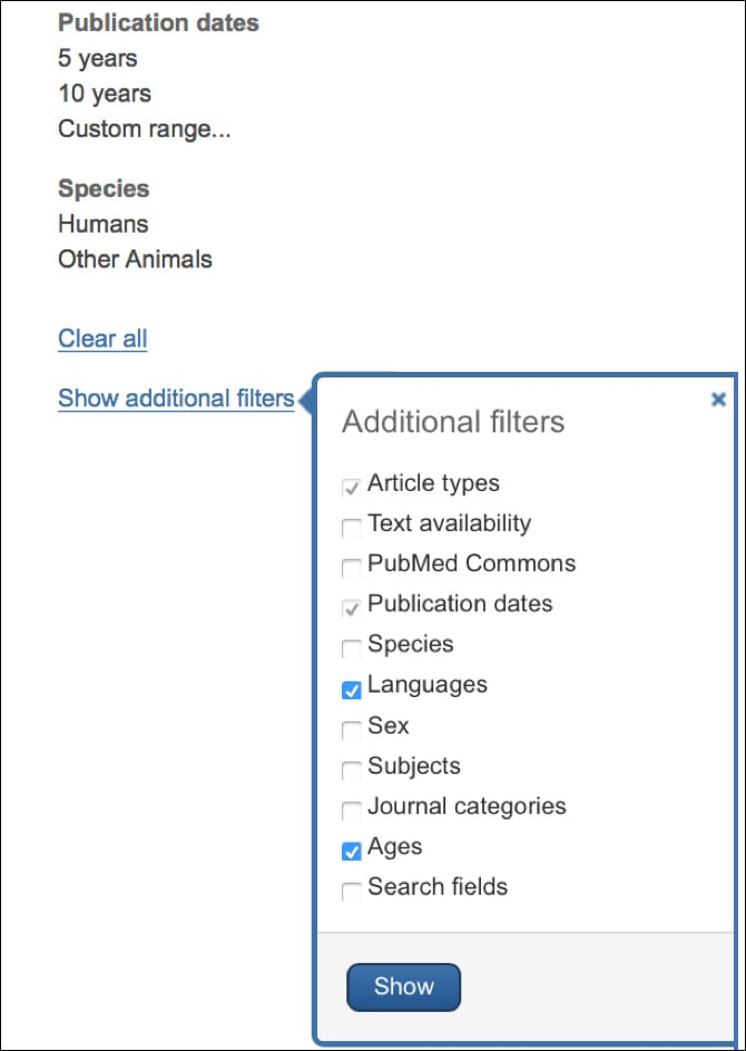 Image: Additional Filters to Narrow Citations