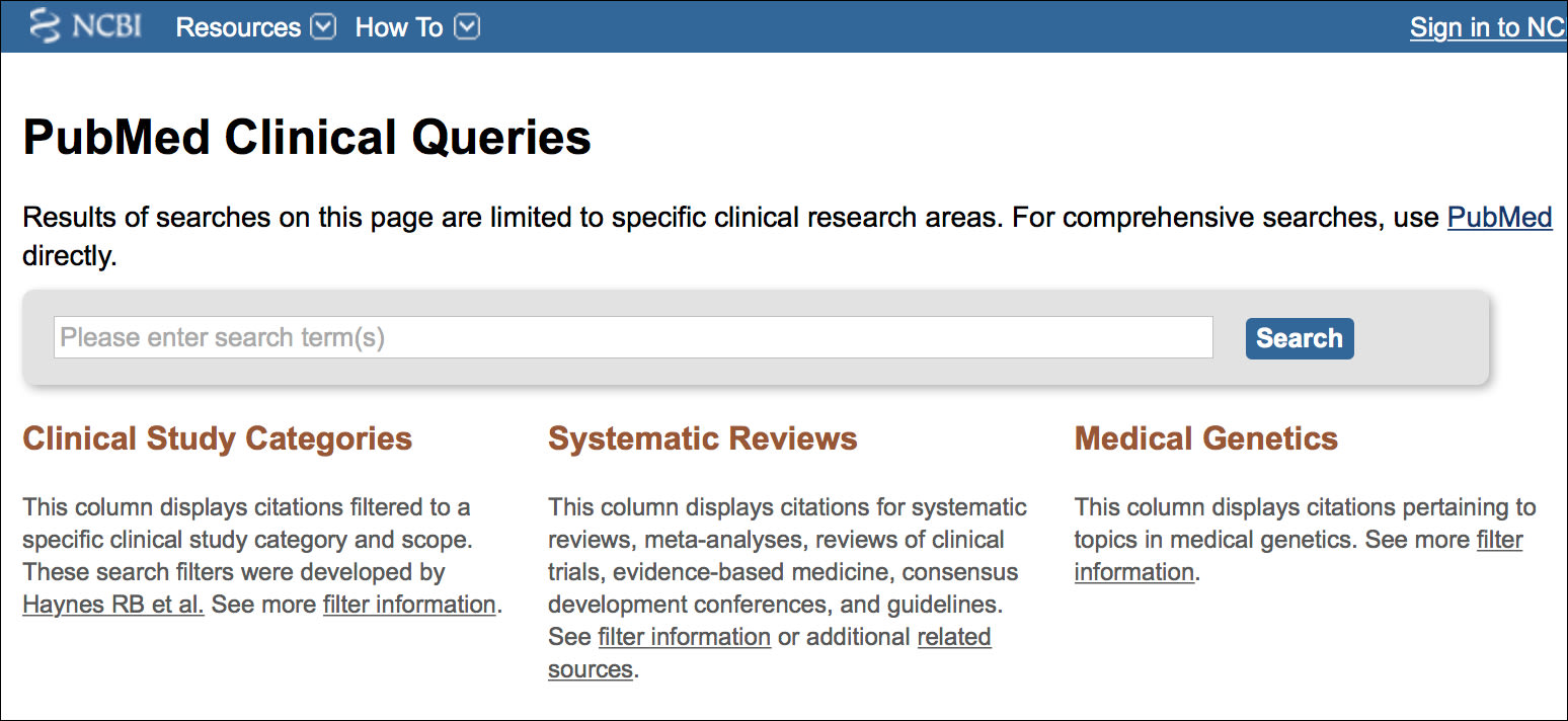 Image: PubMed Clinical Queries