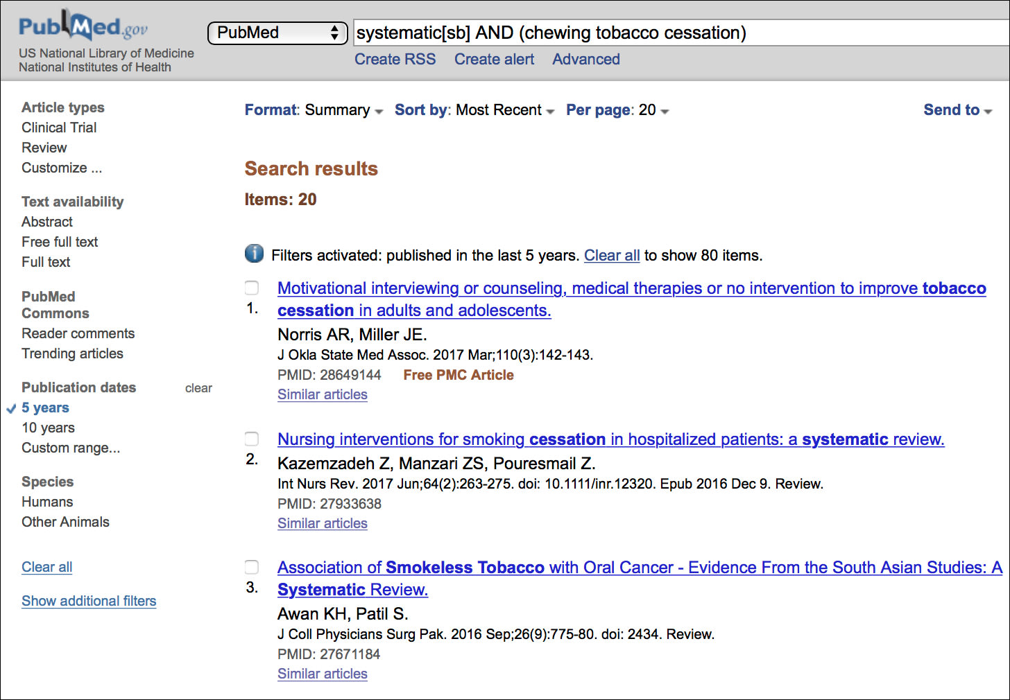 Image: Results of Search for Chewing Tobacco Cessation