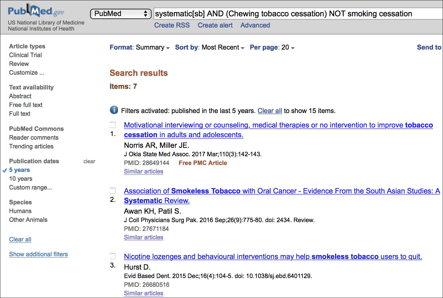 Image: Narrowing the Search Results of Clinical Study Categories for Chewing Tobacco Cessation