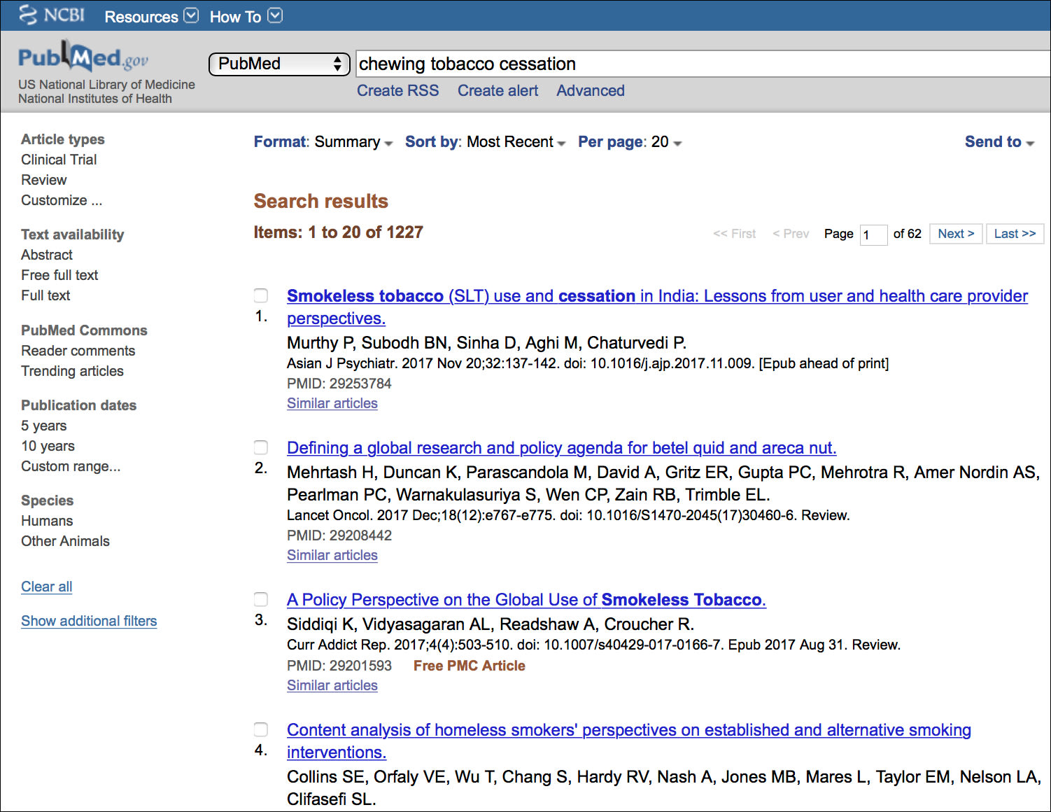 Image of Traditional PubMed Search for Chewing Tobacco Cessation.