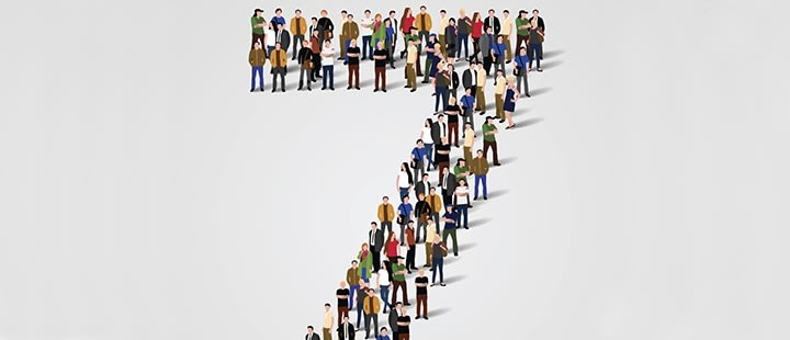 Number seven made out of people
