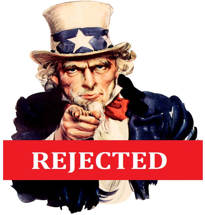 """Illustration of """"Uncle Sam"""" with a rejected banner indicating draftees being rejected for poor oral health."""