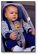 Image: Infant properly buckled into a car seat.