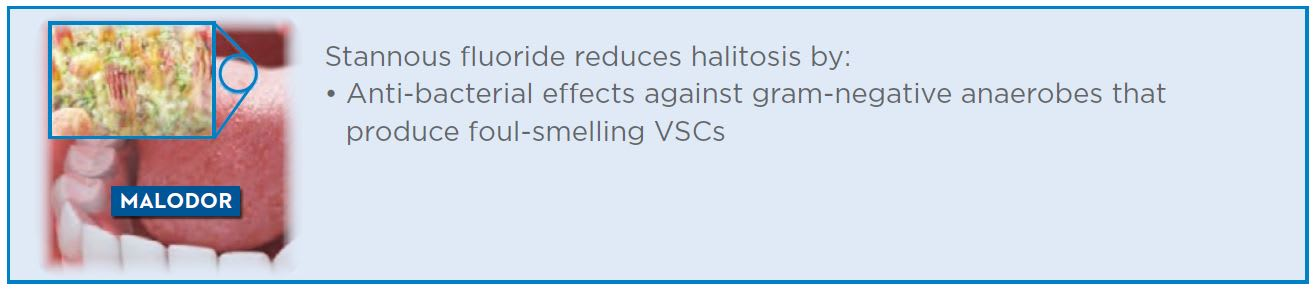 Stannous fluoride reduces halitosis by anti-bacterial effects against gram-negative anaerobes that produce foul-smelling VSCs
