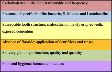 Chart to assess a patient's risk factors for the development dental caries