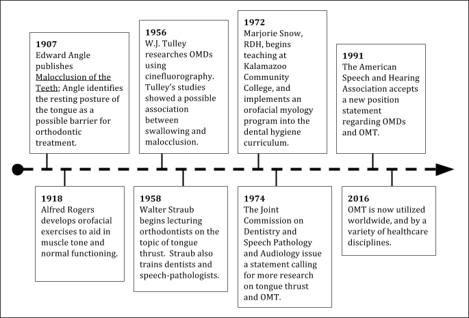 Timeline showing the summary of the history of OMT.