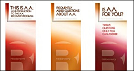 Image of examples of informative brochures available from Alcoholics Anonymous.