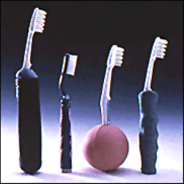 Photo showing toothbrush modifications.