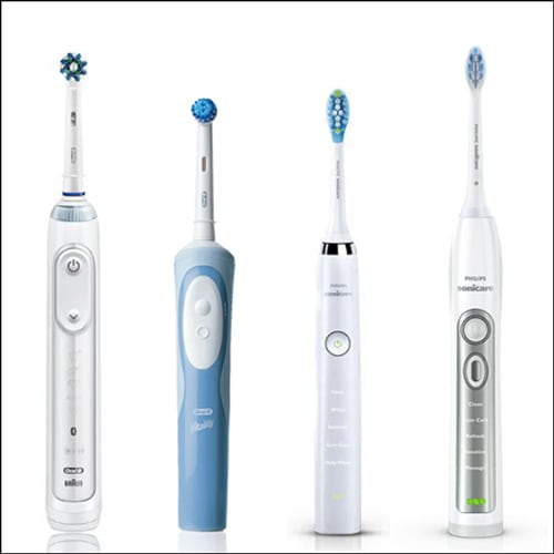 Photo showing electronic toothbrushes.