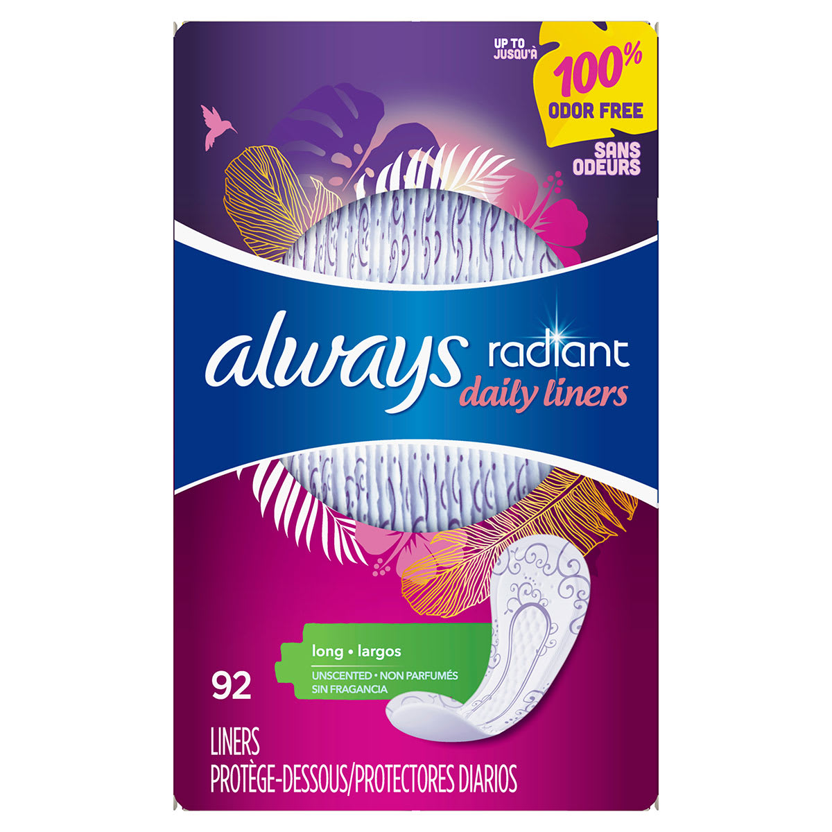 Always Radiant Liners Long 92ct