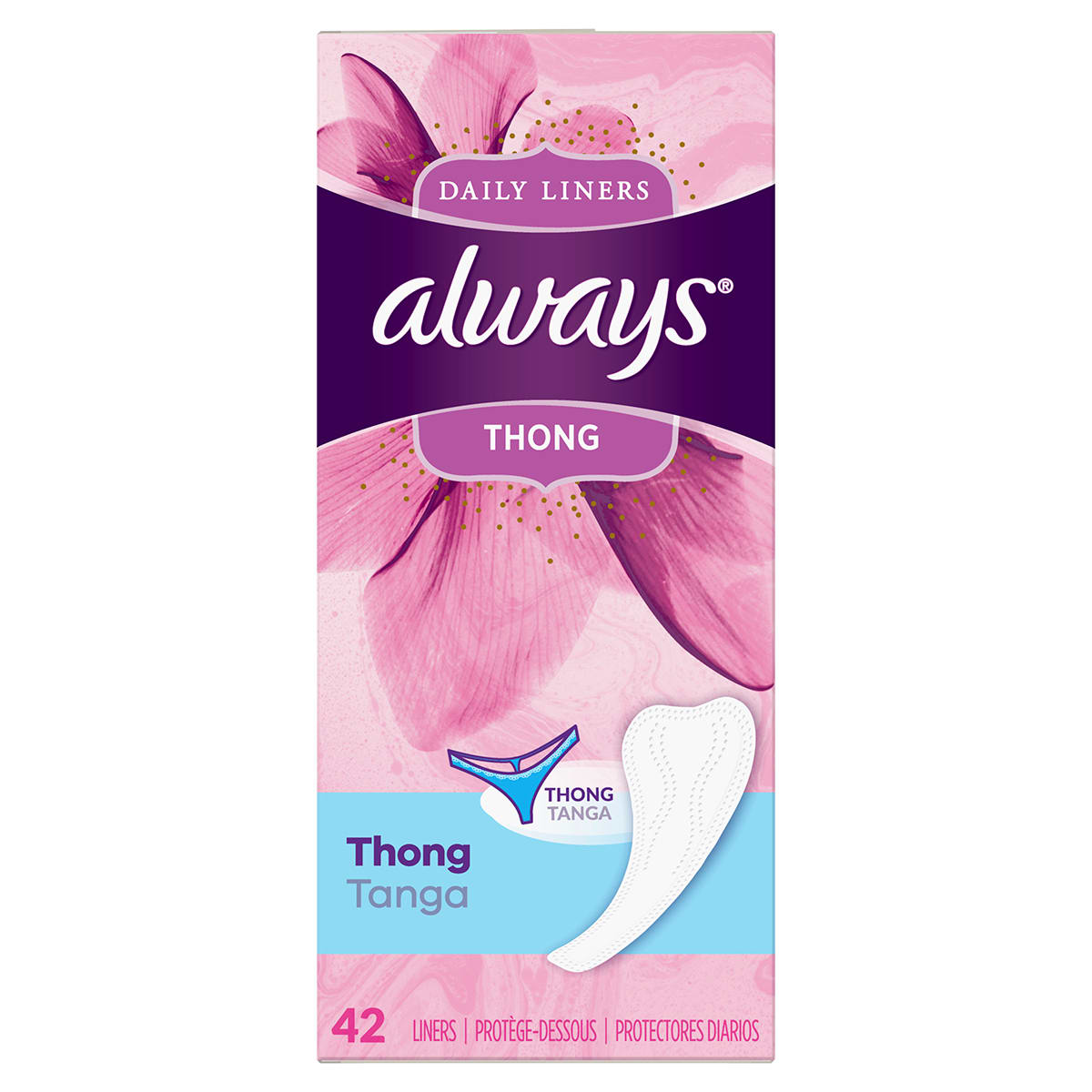Always Thin Daily Liners Thong 42 ct