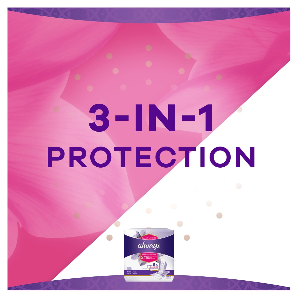 Always Xtra Protect 3 in 1 Extra Long Liners 3-In-1 Protection benefit