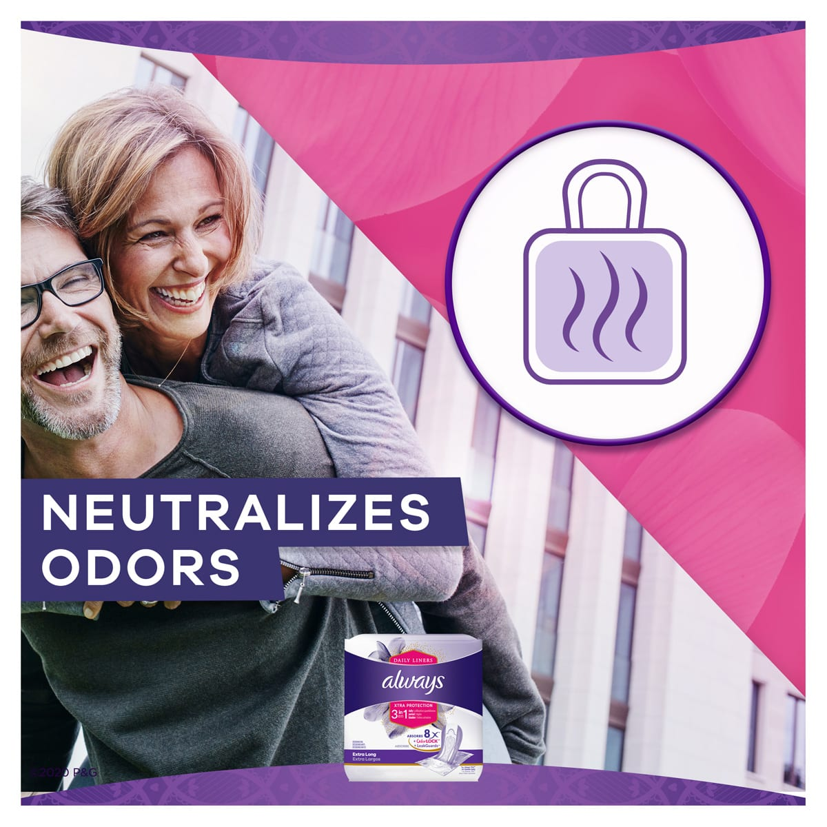 Always Xtra Protect 3 in 1 Extra Long Liners Neutralizes Odor benefit