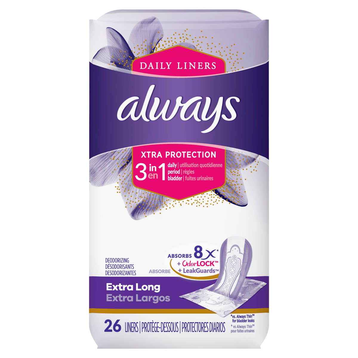 Always Xtra Protect 3 in 1 Extra Long Liners With LeakGuards 26ct