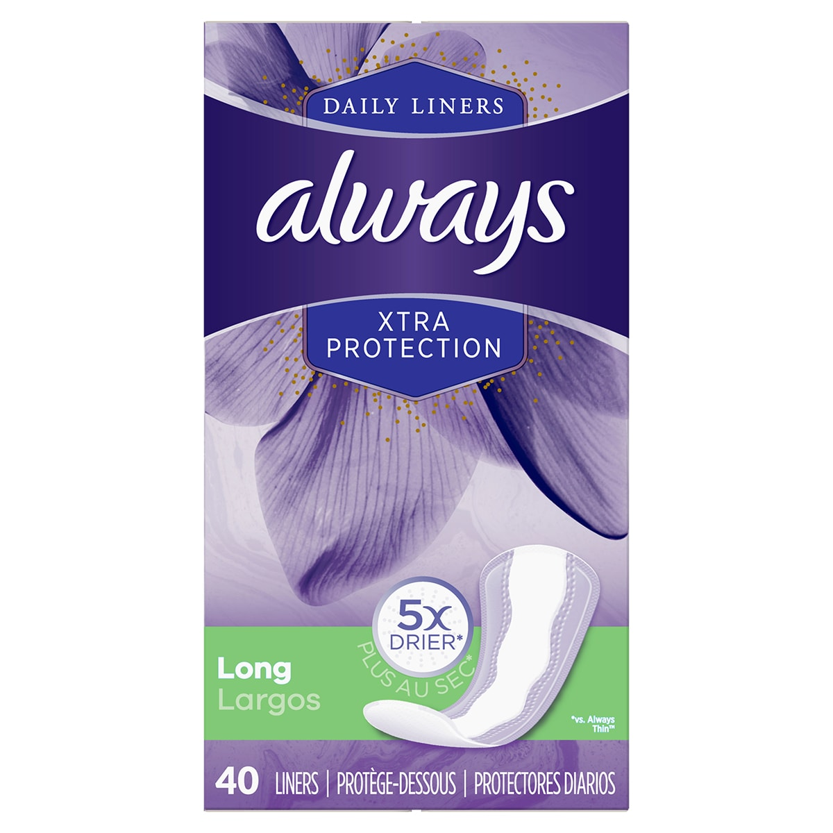 Always Xtra Protect Long Liners 40ct