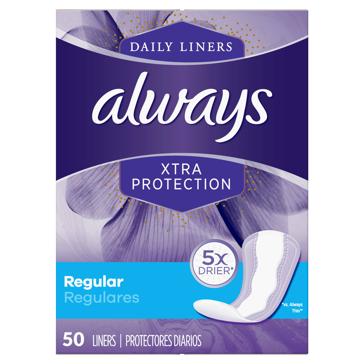 Always Xtra Protect Regular Liners 50ct