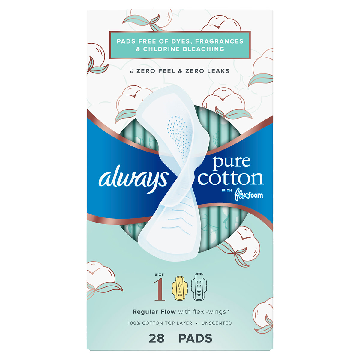 Always Pure Cotton Size 1 Pads 28ct