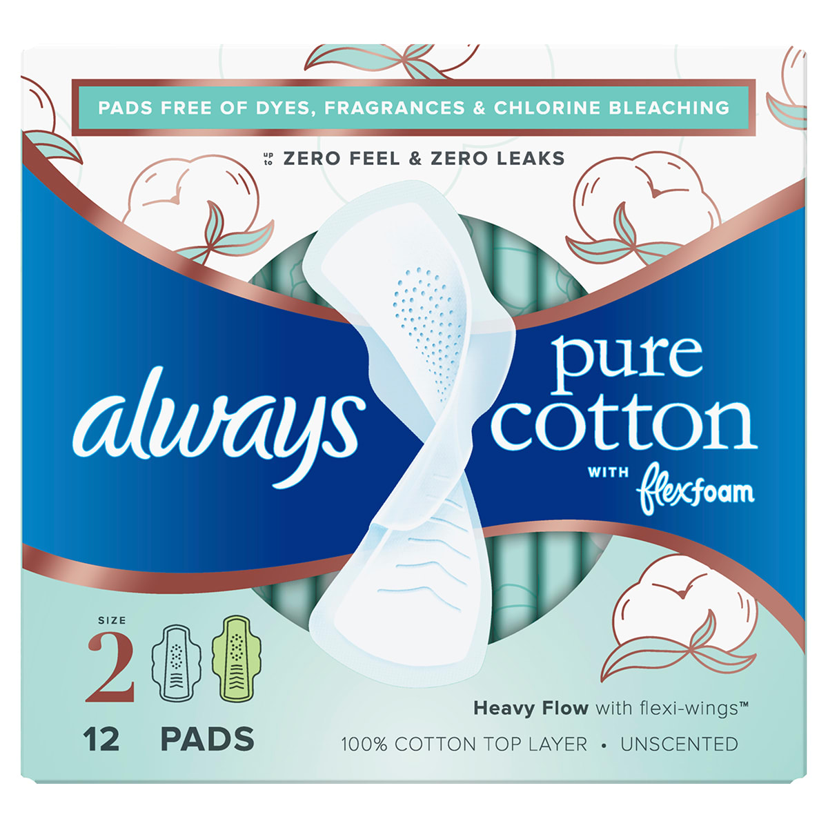 Always Pure Cotton Size 2 Pads 12ct