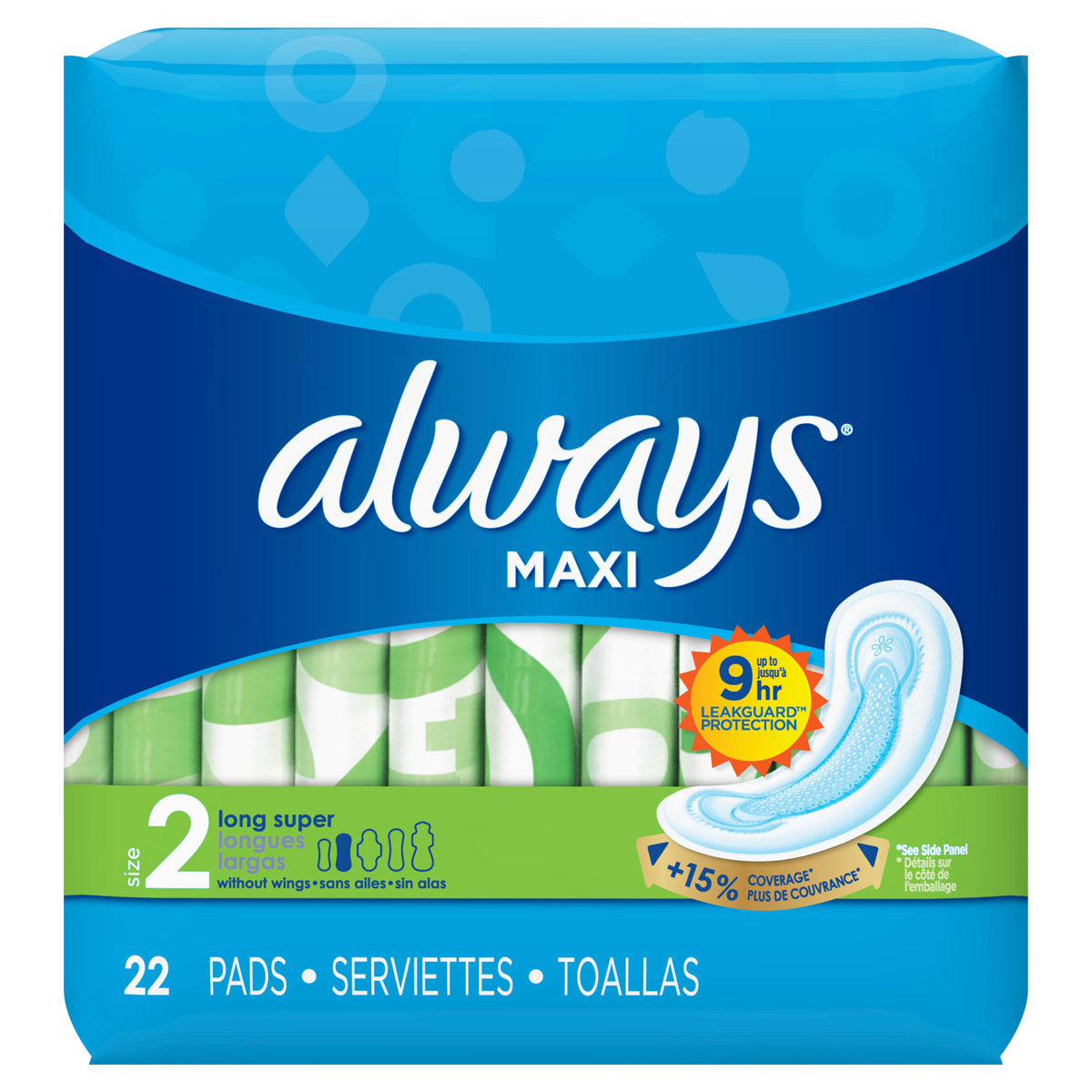 Always Maxi Size 2 Long Super Pads Without Wings Unscented
