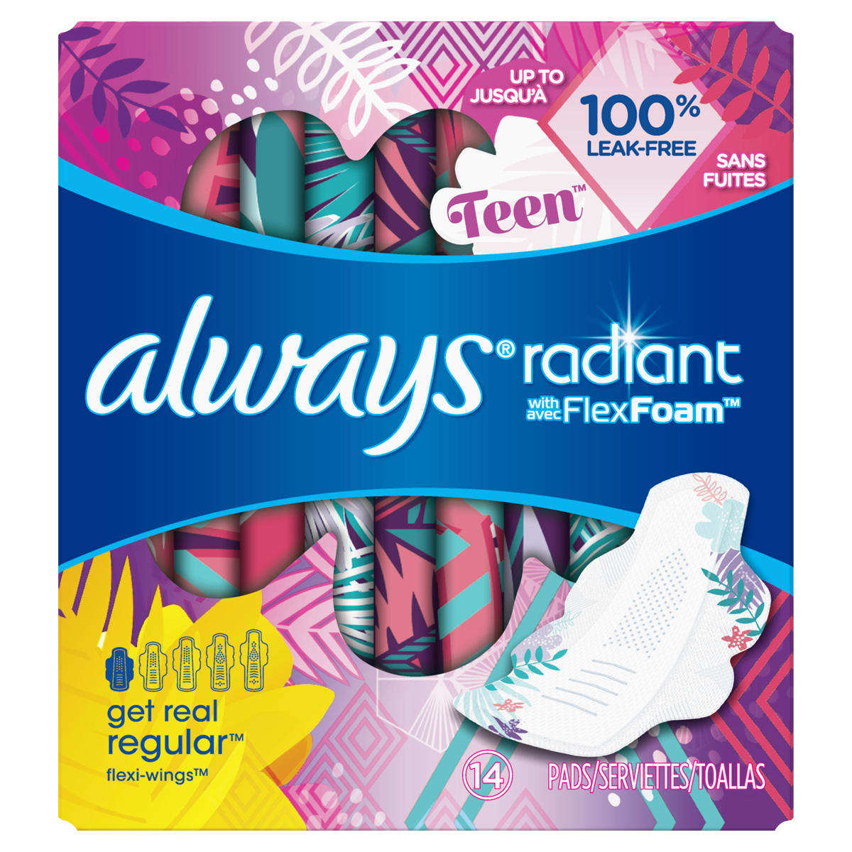 Always Radiant Teen Regular Pads with Wings