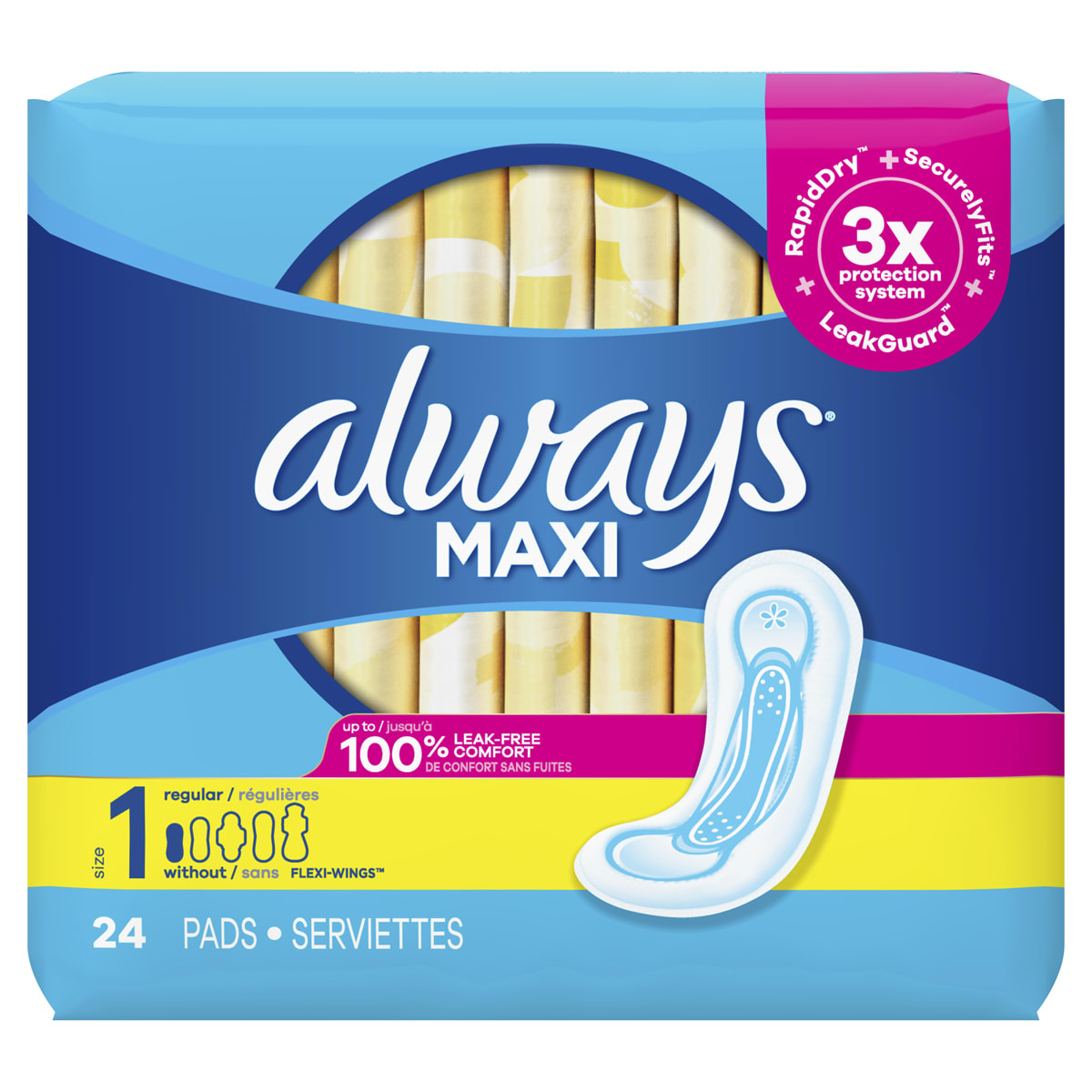 Maxi Pads Size 1 Regular Super Without Wings