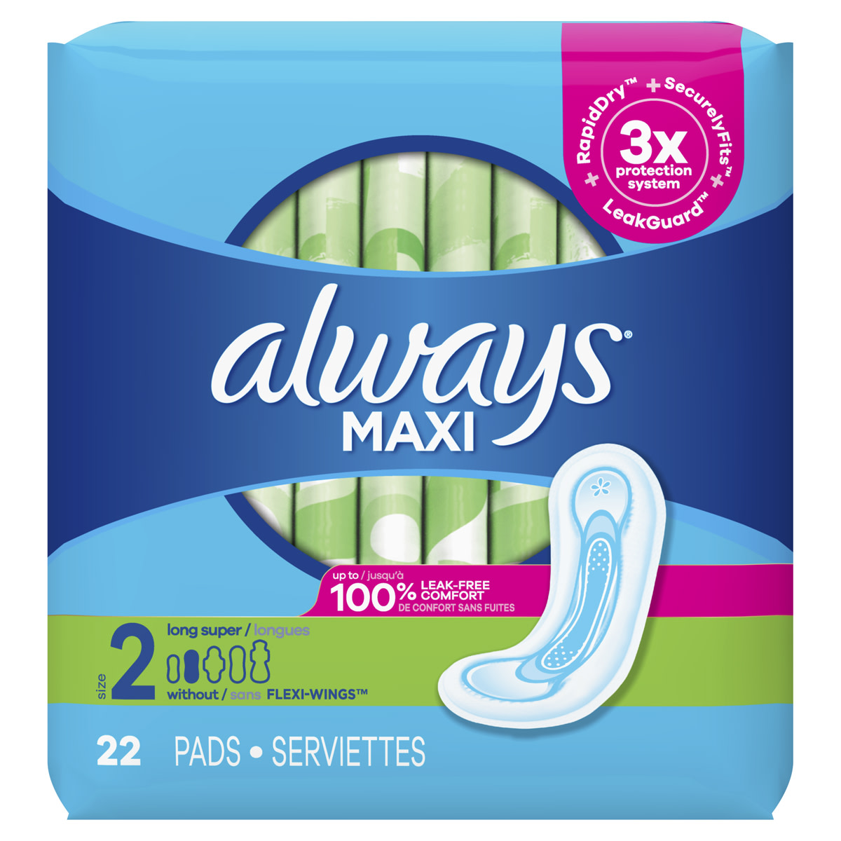 Maxi Pads Size 2 Long Super without Wings