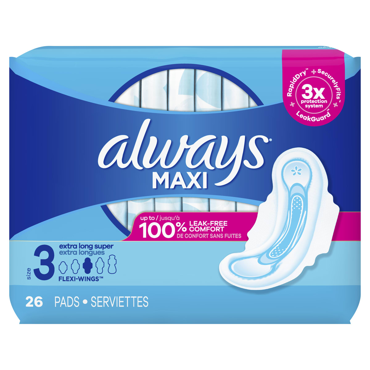 Maxi Pads Size 3 Extra Long Super with Wings