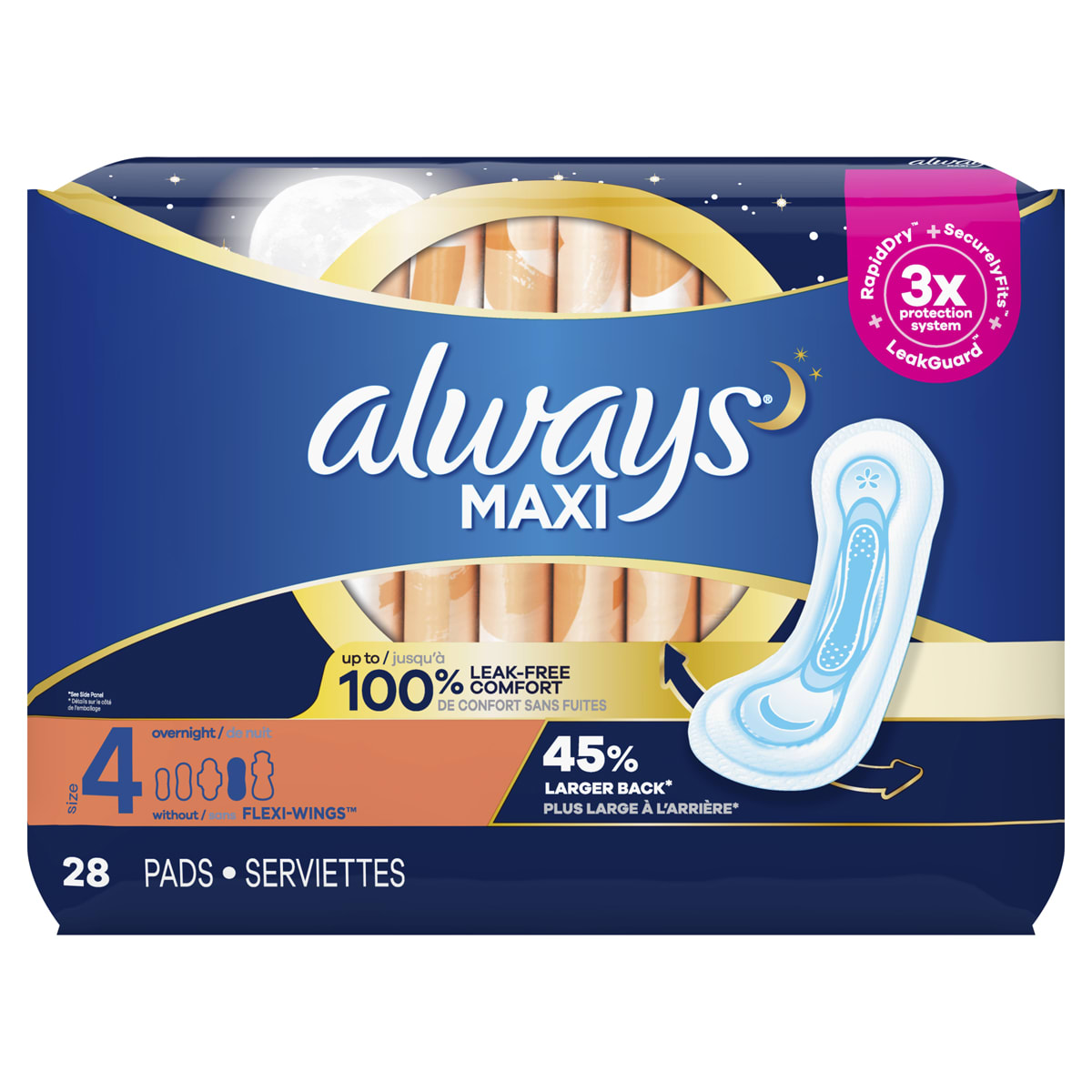 Maxi Pads Size 4 Overnight Absorbency Unscented without Wings